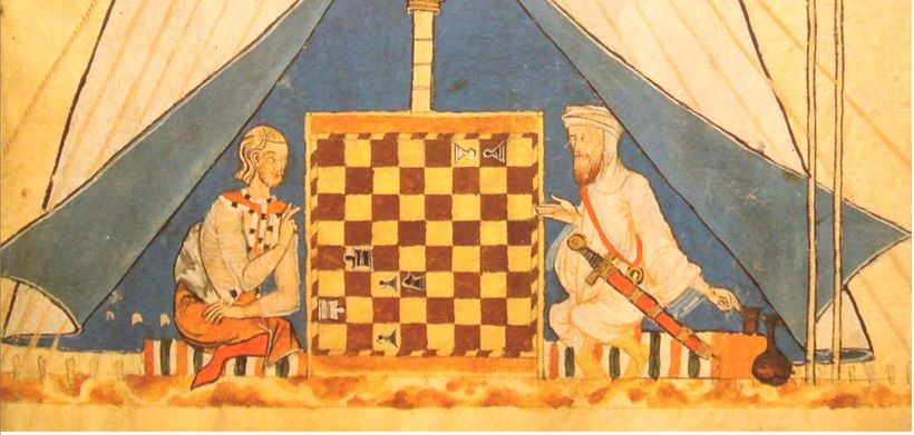 Medieval Muslim and Christian playing chess!