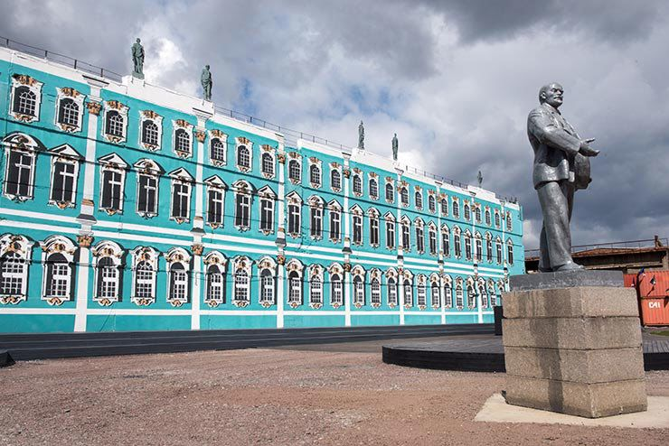 The exterior walls of the compound were painted to mimic the Hermitage Museum. Street Art Museum. Saint Petersburg, Russia. M