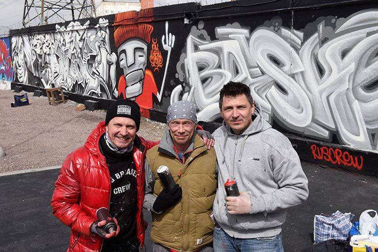 From left to right: Vadim Krys (Lithuania), Basket (Russia) and Max Navigator (Russia). <em>First Wave of Graffiti in USSR </