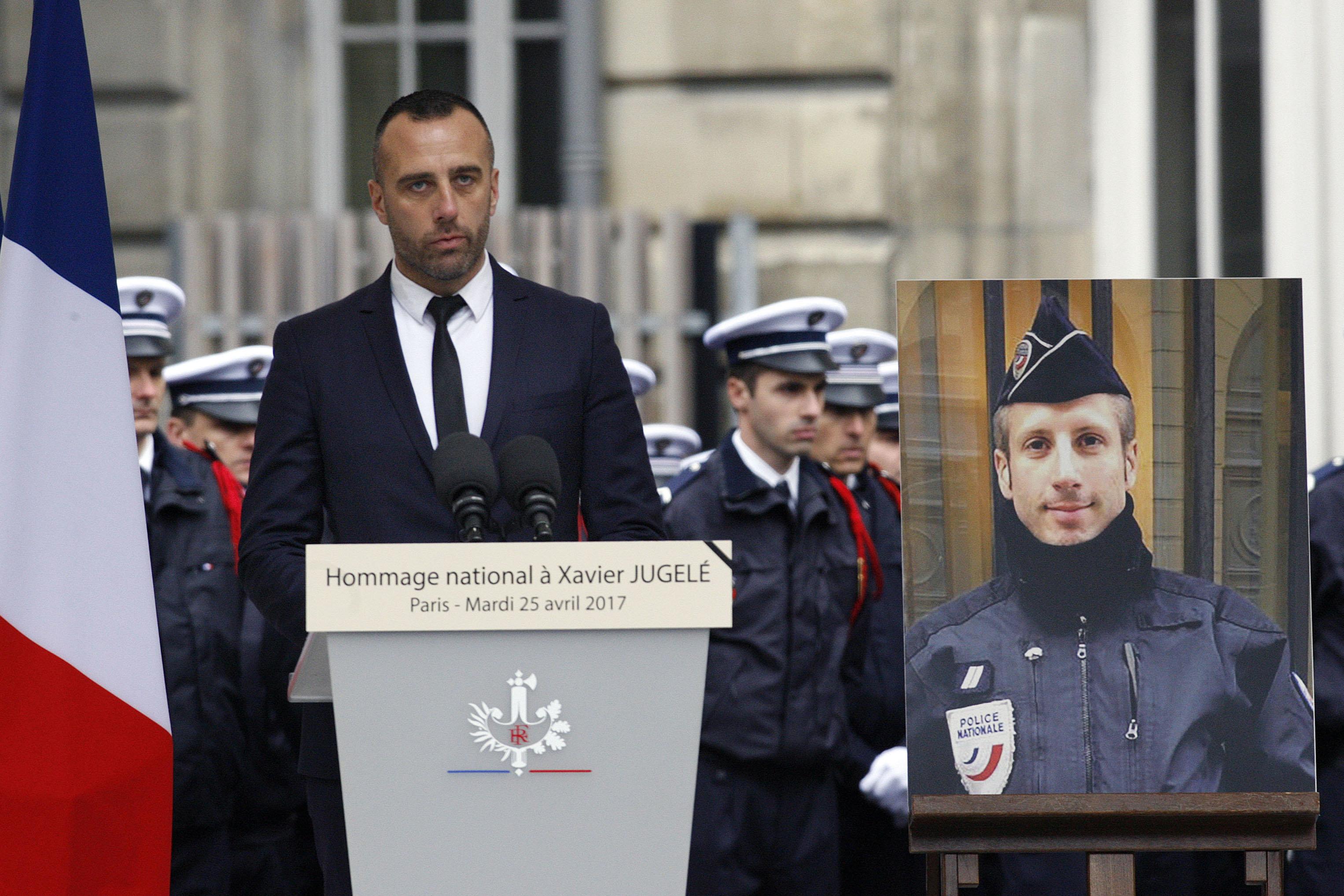Etienne Cardiles (left) spoke at an April memorial for