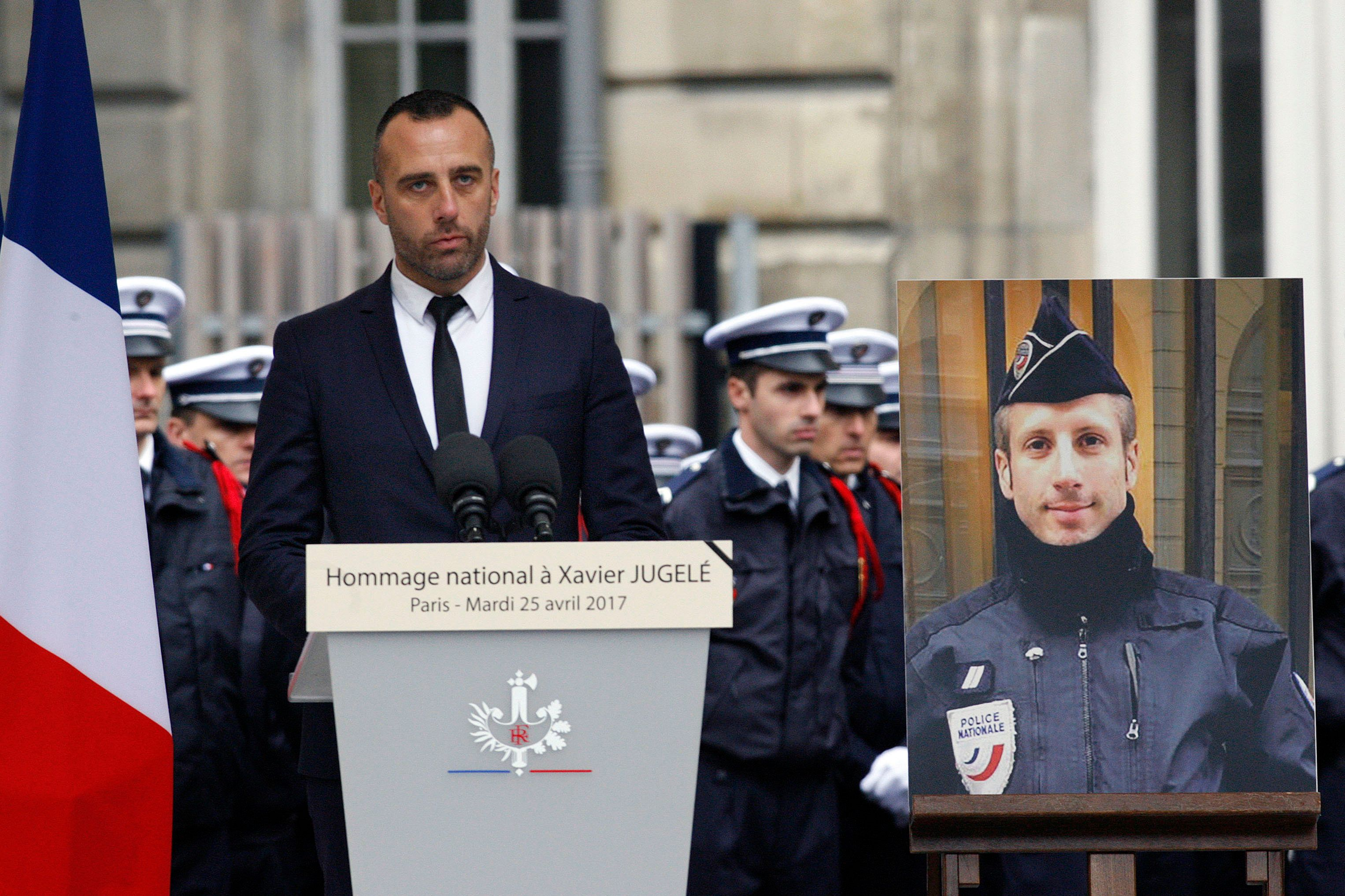 Etienne Cardiles (left) spoke at an April memorial for Xavier Jugelé.