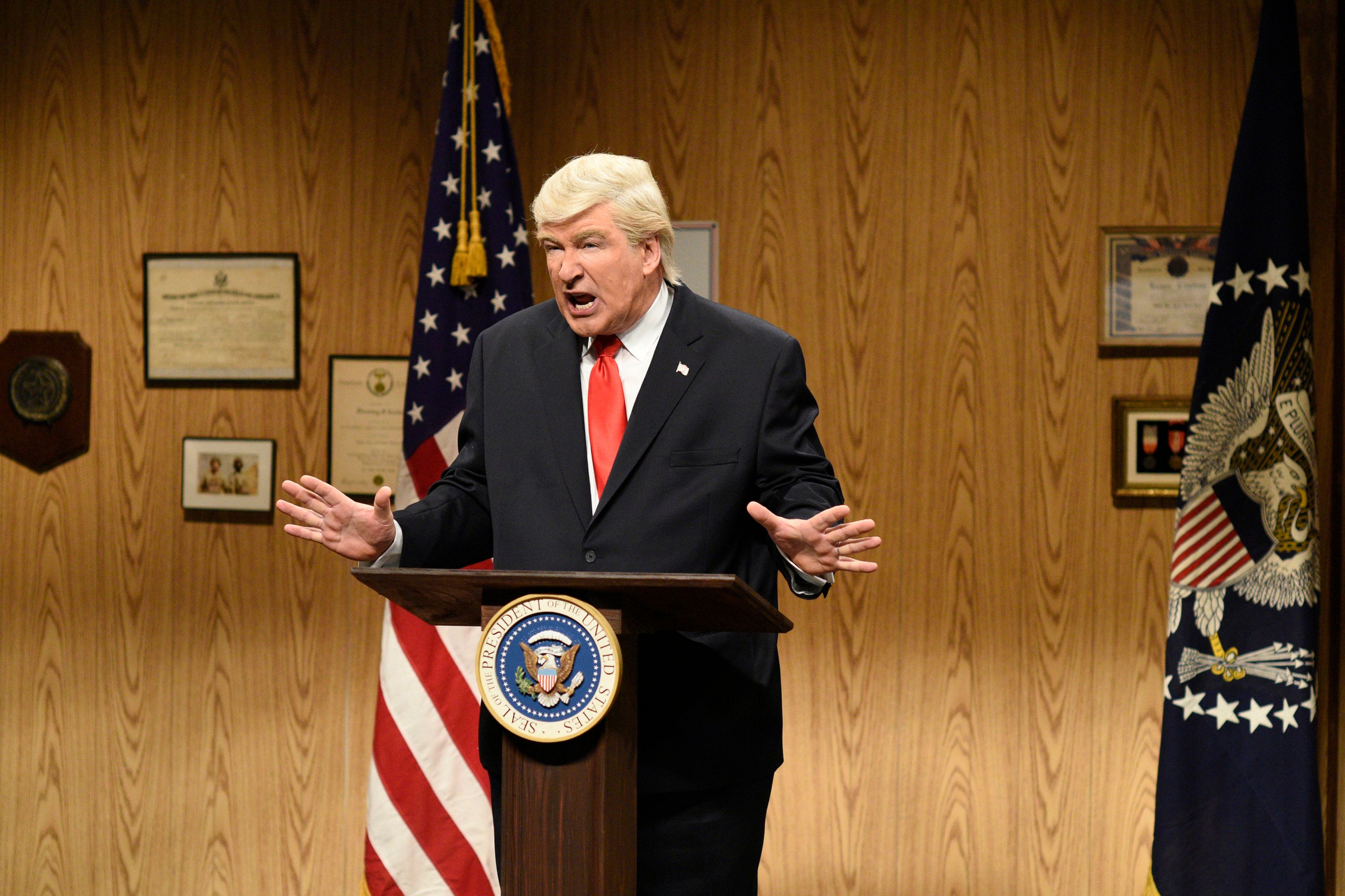 Alec Baldwin portrays President Donald Trump on April 8, 2017.