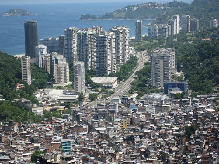 The view from the Rocinha favela, in Rio de Janeiro, where 'urban renewal' is now encroaching on some of the poorest parts o