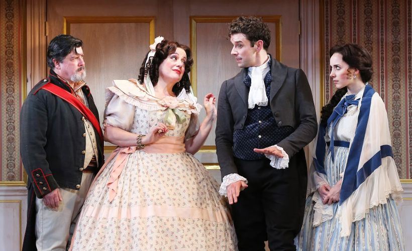 Michael McGrath, Mary Testa, Michael Urie and Talene Monahon in <em>The Government Inspector</em>