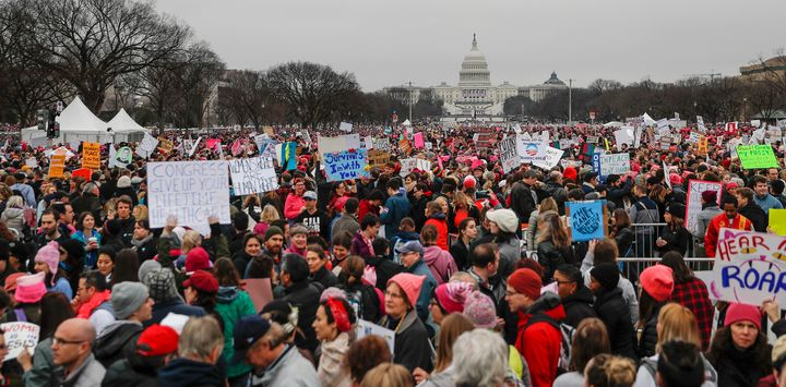 Protesters gather on the National Mall for the Women's March on Washington during the first full day of Donald Trump's presid