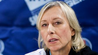 Martina Navratilova speaks at a news conference for the World Team Tennis Smash Hits fundraiser in Washington November 15, 2010. The event will raise money for the Elton John AIDS Foundation and local Washington, D.C. Area AIDS charities, according to the World Team Tennis website. REUTERS/Joshua Roberts  (UNITED STATES - Tags: SPORT ENTERTAINMENT TENNIS)