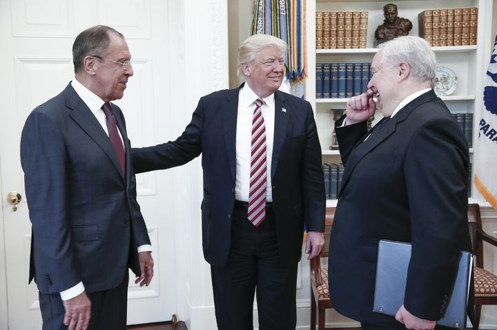 Trump (center), meeting with Russian foreign minister Sergei Lavrov (left) and ambassador Sergei Kislyak (right), on May 10.
