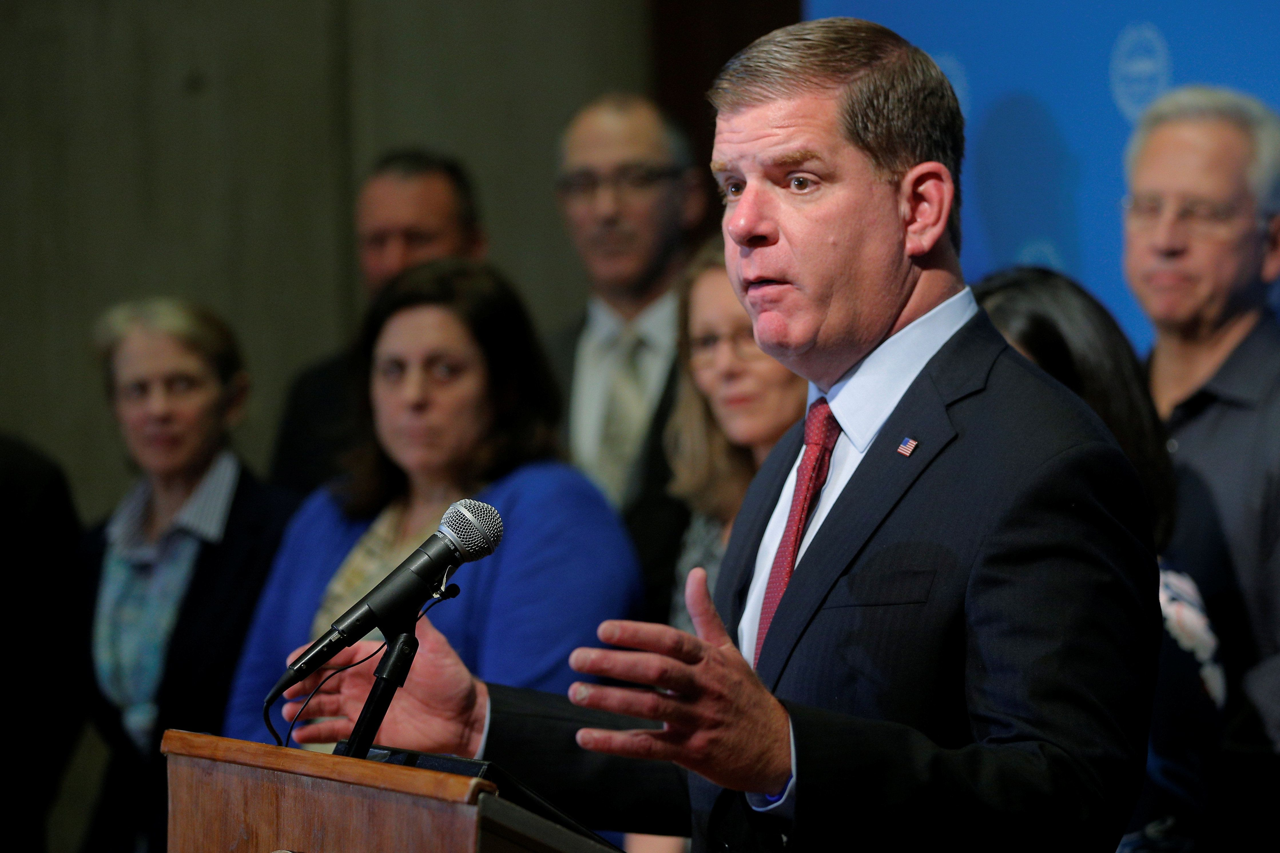 Boston Mayor Marty Walsh tries to persuadePresident Donald Trump not to withdraw from the Paris...