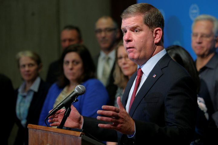 Boston Mayor Marty Walsh tries to persuade President Donald Trump not to withdraw from the Paris climate accord during a