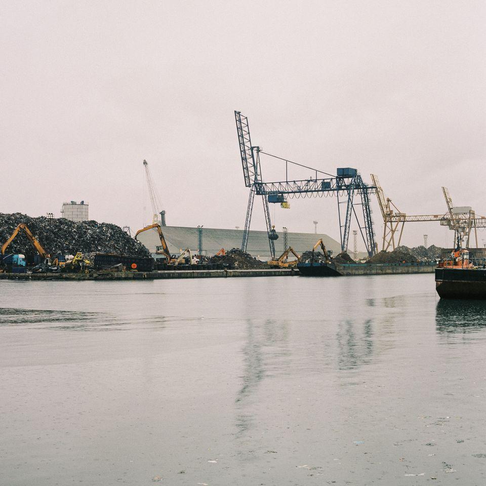Scrap piles at Tilbury port on Jan.