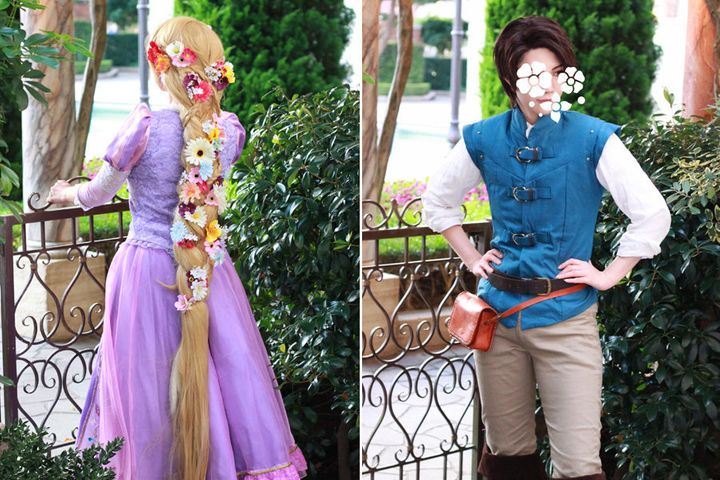Haru dressed as Rapunzel and Ryo dressed as Flynn Rider for the engagement.