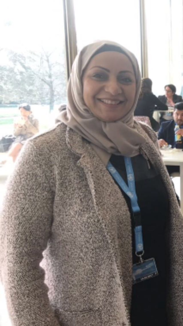 Bahraini human rights defender Ebtisam Al Sayegh at the United Nations Human Rights Council in Geneva in March 2017.