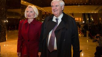 NEW YORK, NY - NOVEMBER 21: Former U.S. Rep. Newt Gingrich and his wife Callista leave following his visit with President-elect Donald Trump at Trump Tower on November 21, 2016 in New York City. President-elect Donald Trump and his transition team are in the process of filling cabinet and other high level positions for the new administration.  (Photo by Kevin Hagen/Getty Images)