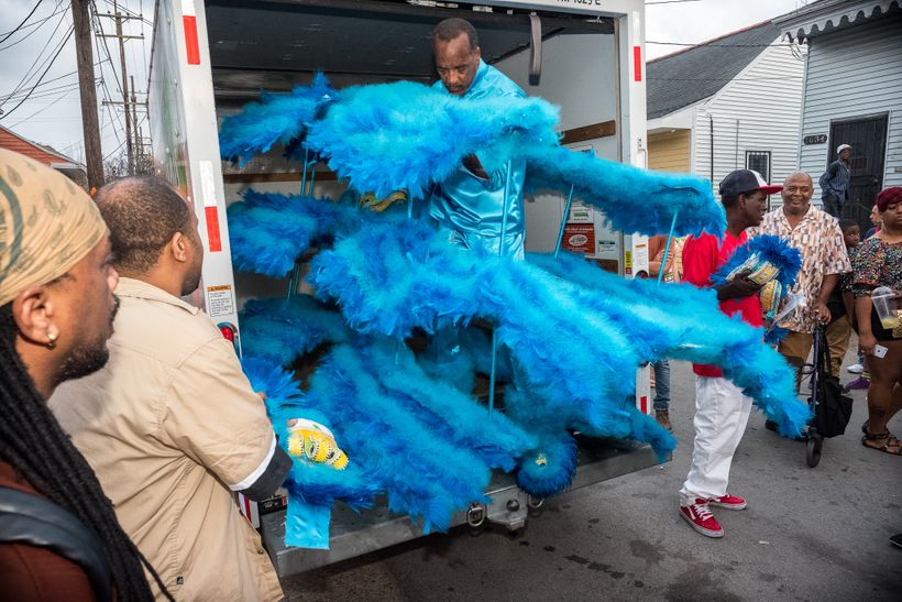 Darryl Montana arrives in front of his mother's house in the Tremé neighborhood of New Orleans on Carnival Day, February 28,