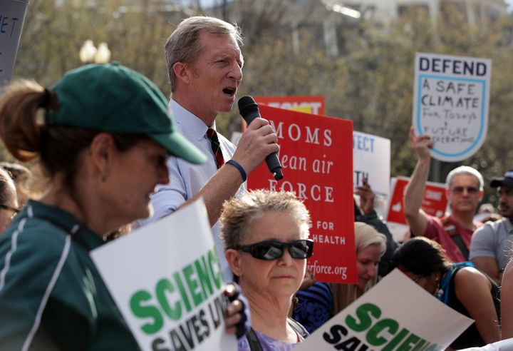 Environmentalist Tom Steyer speaks during a protest outside the White House on March 28 in Washington. Activists protest agai