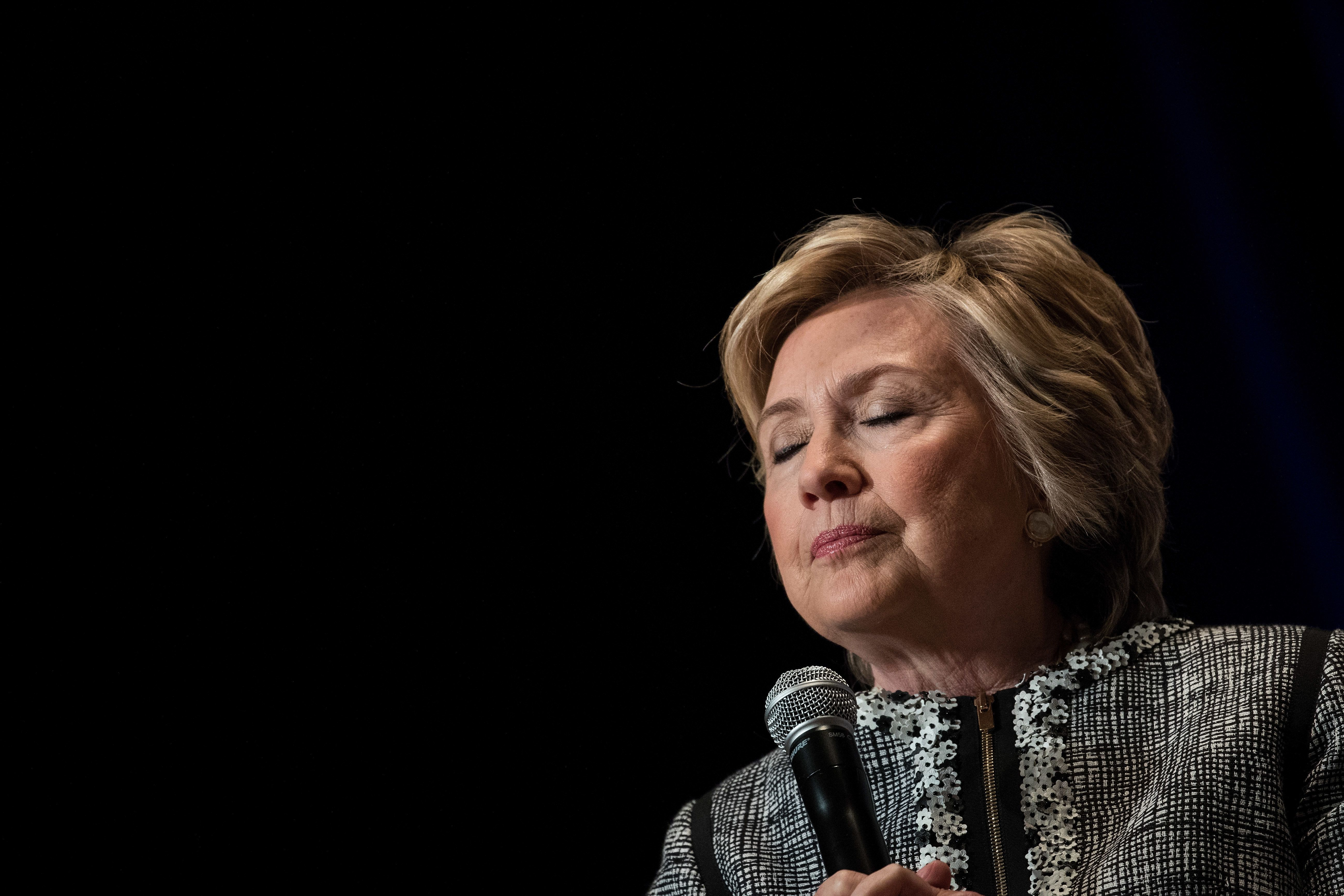 Former Secretary of State Hillary Clinton pauses while speaking at BookExpo 2017 in New York City. Shewas at the conven