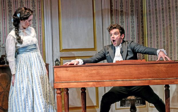Talene Monahon plays the mayor's daughter, and Michael Urie plays Hlestakov in <em>The Government Inspector</em>.