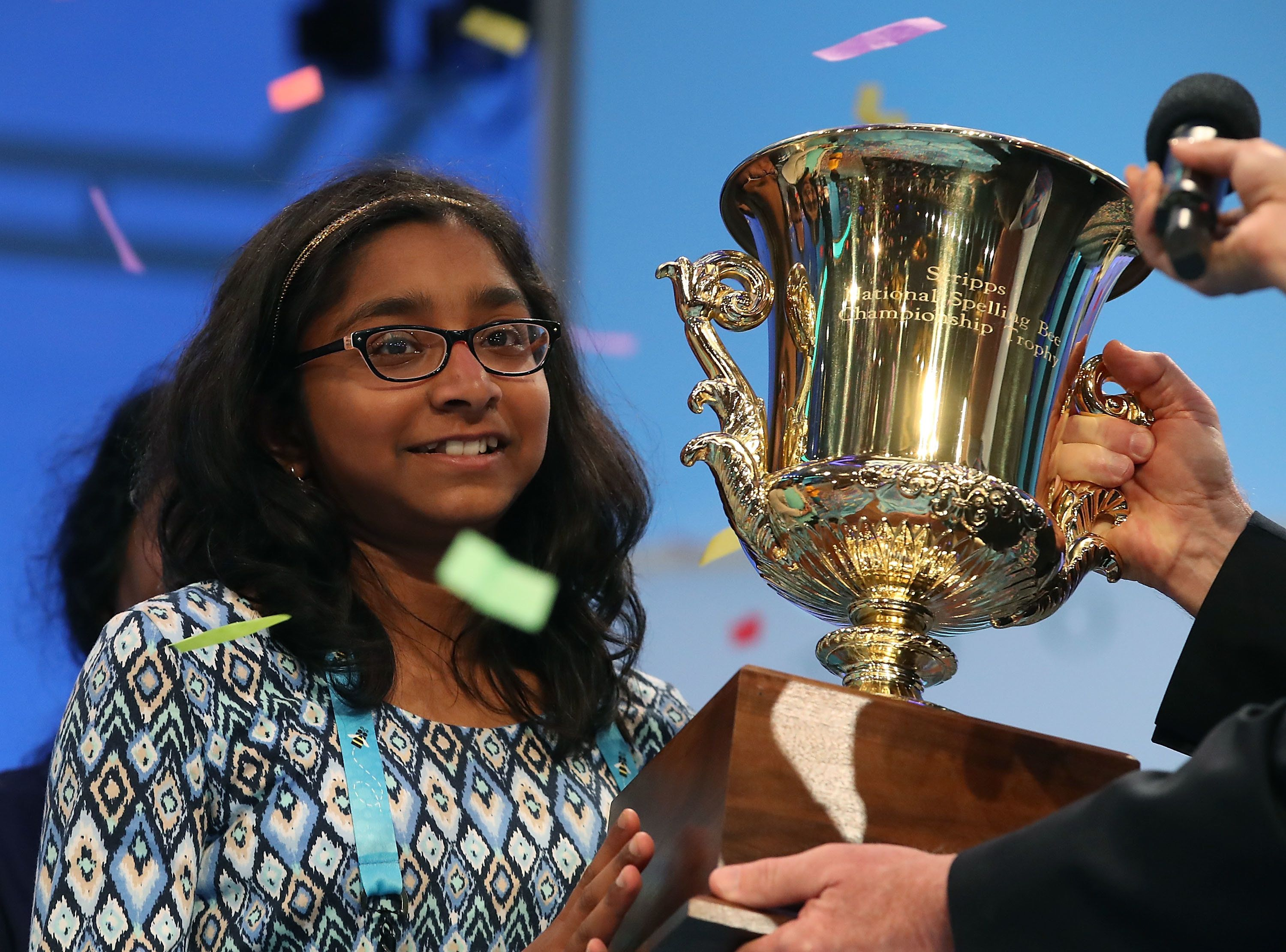 NATIONAL HARBOR, MD - JUNE 01: Ananya Vinay of Fresno, CA. won the 2017 Scripps National Spelling Bee by spelling the word 'marocain', at Gaylord National Resort & Convention Center June 1, 2017 in National Harbor, Maryland. Close to 300 spellers are competing in the annual spelling contest for the top honor this year.  (Photo by Mark Wilson/Getty Images)