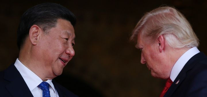President Donald Trump welcomes Chinese President Xi Jinping at Mar-a-Lago in April.