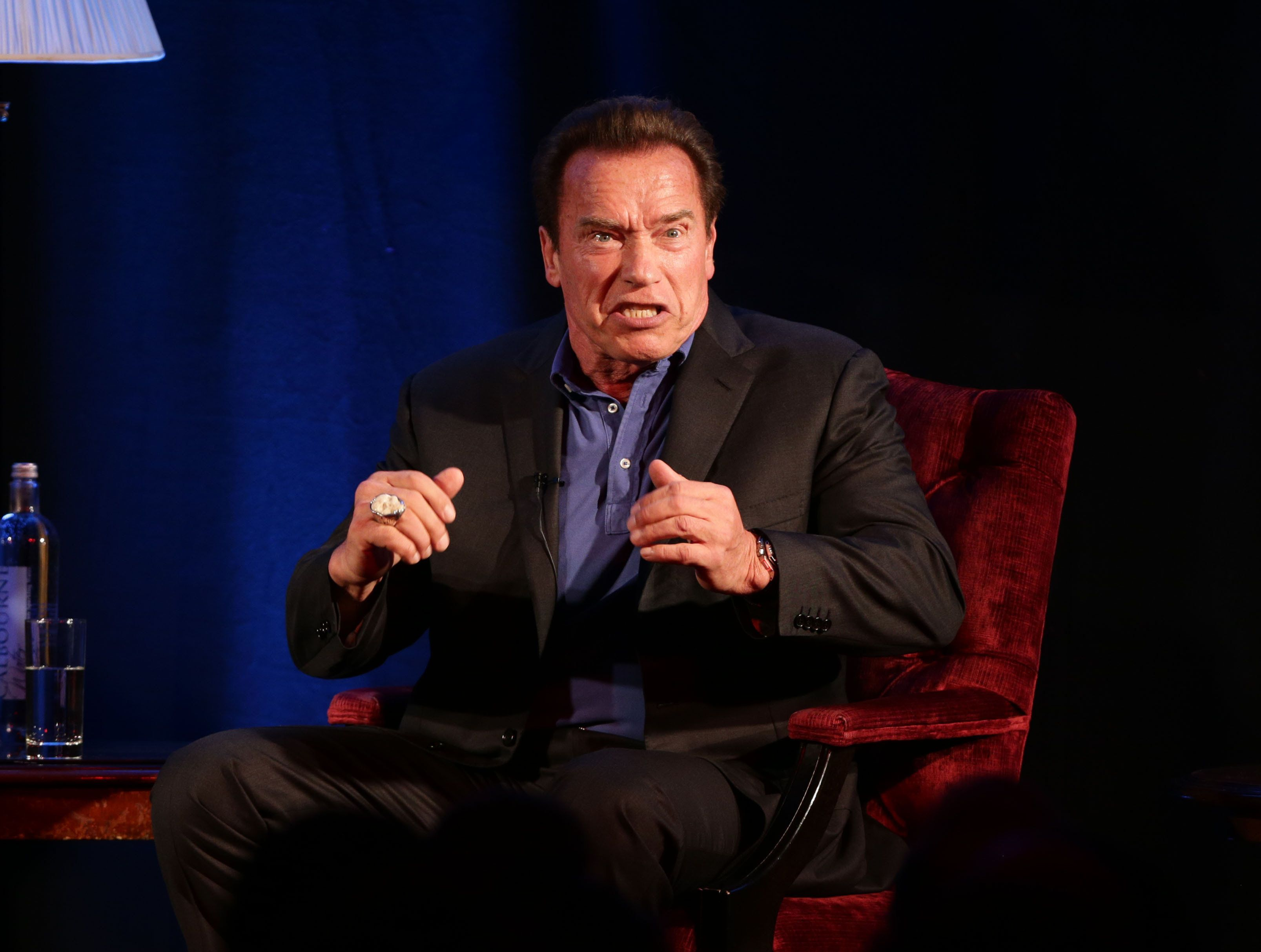 Arnold Schwarzenegger in conversation with host Jonathan Ross during 'An Evening with Arnold Schwarzenegger', at the Lancaster London Hotel in London.