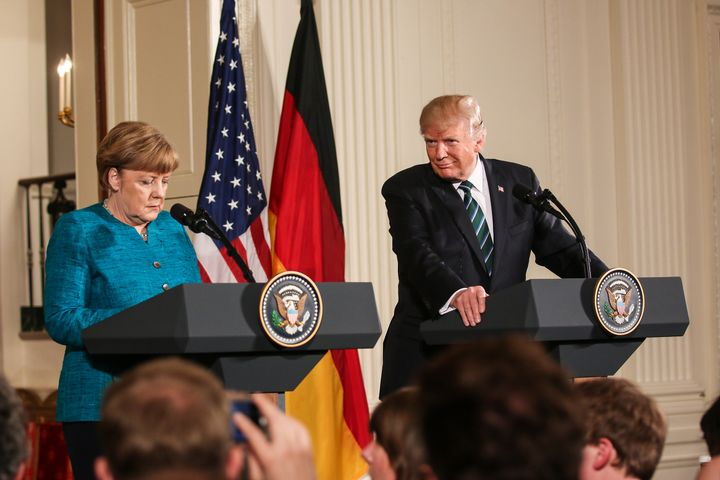 Washington, DC – March 17, 2017: German Chancellor Angela Merkel and US President Donald Trump hold a joint press conference