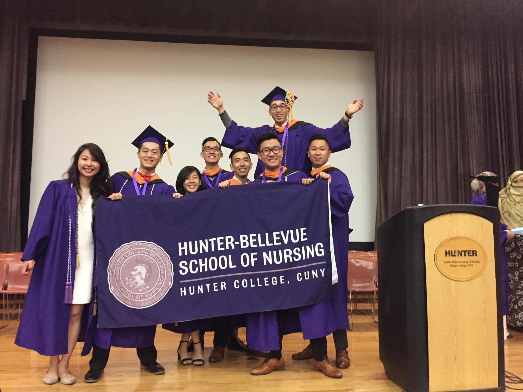"""Alcantara and his fellow nursing graduates giving him his """"own little ceremony"""" after he missed the real one."""