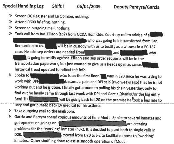 An entry from the Special Handling log maintained by sheriff's deputies describes a section of the jail where informants were