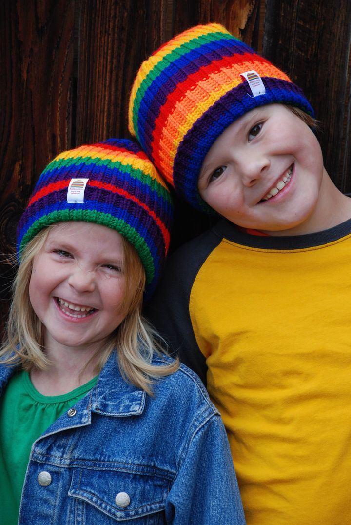 The hats celebrate rainbow babies, or babies who were born after miscarriage, stillbirth, neonatal death or infant loss.