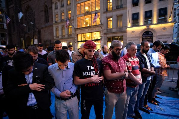 During the event, which took place on Fifth Avenue -- one of the busiest streets in New York City -- Muslims and allies praye