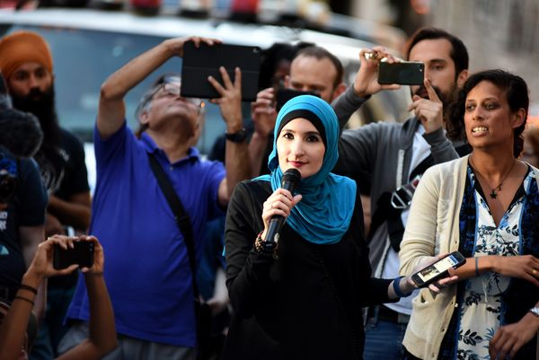 Linda Sarsour, a co-organizer of the National Women's March and one of Time magazine's 100 Most Influential People, spok