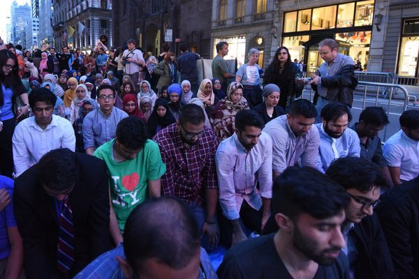 Hundreds of Muslims and allies prayed and ate together during an iftar outside Trump Tower on June 1, 2017.