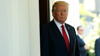 U.S. President Donald Trump waits to greet Colombia's President Juan Manuel Santos in the White House in Washington, DC, U.S., May 18, 2017. REUTERS/Yuri Gripas
