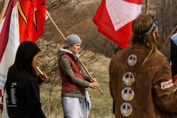 Malea Kirkpatrick center is one of the few people still residing at a water protectors camp.