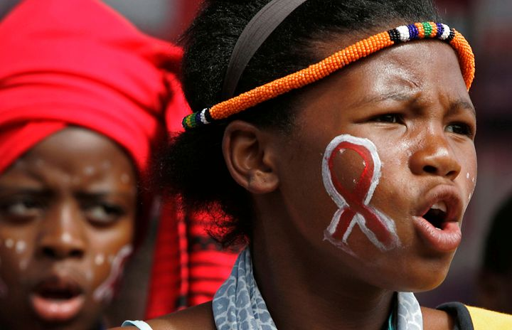 <p>Children from the Andile School choir sing during World AIDS day in Cape Town, South Africa</p>