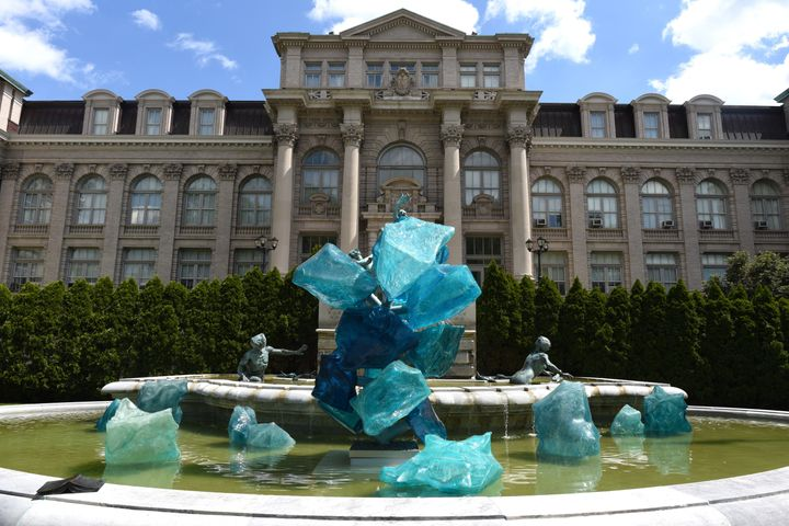 """One of the glass pieces by Seattle-based artist Dale Chihuly, titled """"Blue Polyvitro Crystals,"""" on display in an exhibition called """"CHIHULY"""" at the New York Botanical Garden."""
