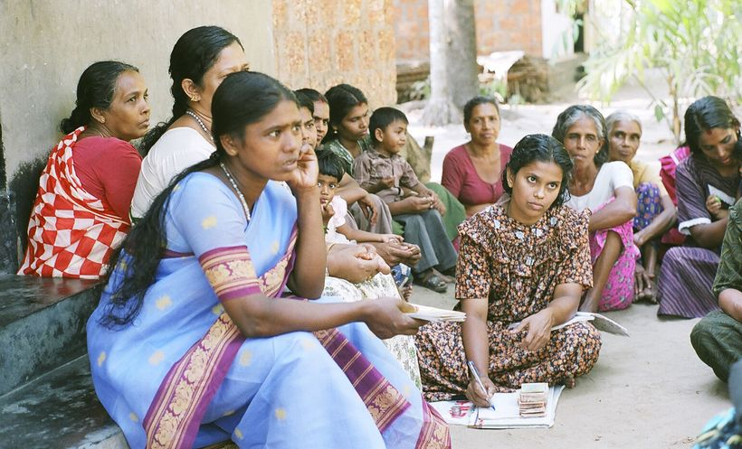 A meeting led by a microfinance organisation in Kerala, South India.