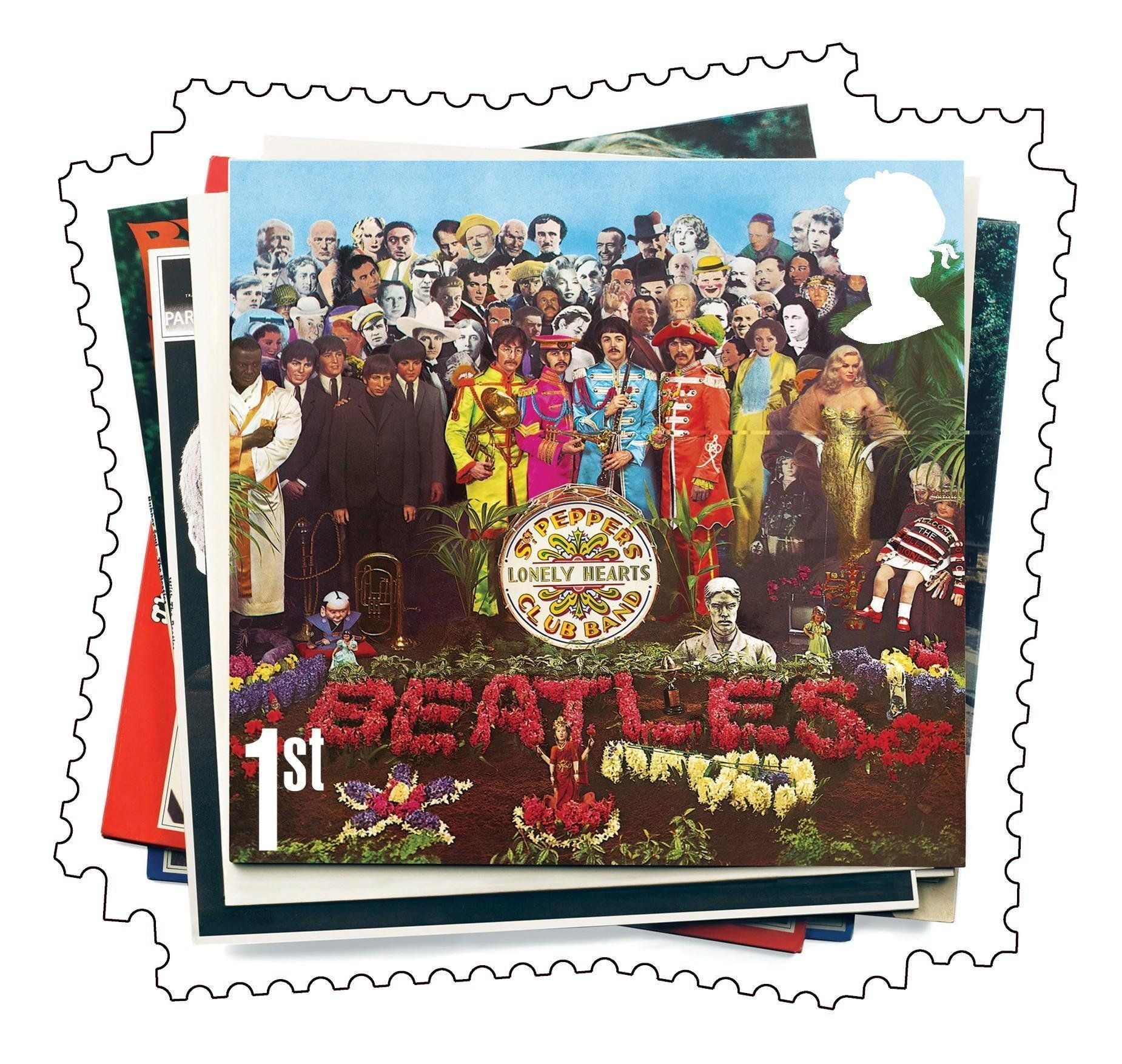 Undated handout image released by Royal Mail of a Sgt Pepper's Lonely Hearts Club Band Beatles album cover stamp, which will go on sale in January 2007.