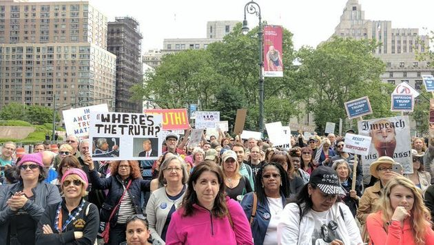 Hundreds of demonstratorsin New York City took to the streets Saturday to protest President Donald...
