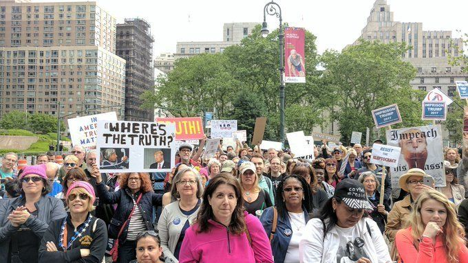 Hundreds of demonstratorsin New York City took to the streets Saturday to protest President Donald Trump's ties with Ru