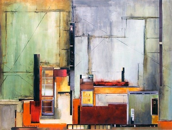 Architectural Relic 35-813, Oil and wax with architectural collage on panel, 30 x 40 inches