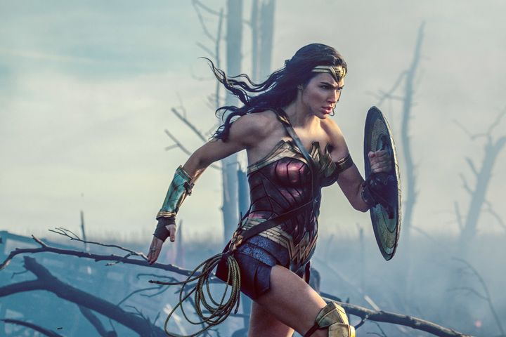 Gal Gadot rocks her Wonder Woman costume that features an emblem of an eagle, which is, you know, a major symbol for the