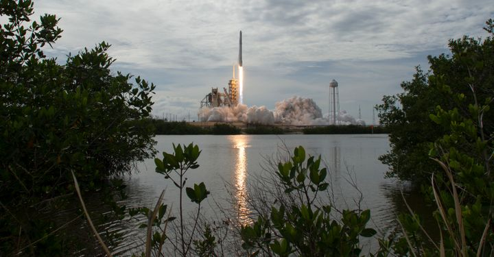 The SpaceX Falcon 9 rocket, with the recycled Dragon spacecraft onboard, launches from the Kennedy Space Center on June 3 in