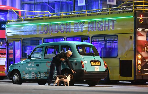 Police sniffer dogs on London Bridge