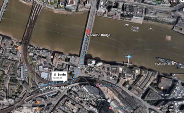 London Bridge is close to Borough Market where the attacks took