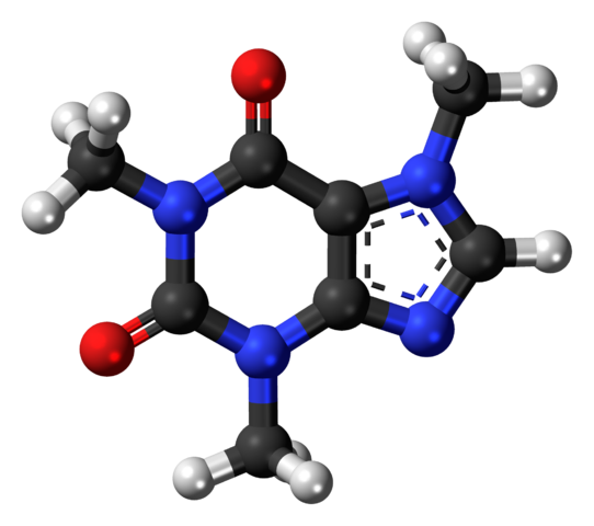 """The caffeine molecule in 3D by <a rel=""""nofollow"""" href=""""https://commons.wikimedia.org/w/index.php?curid=20051709"""" target=""""_bla"""