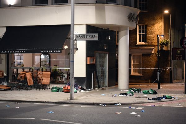 Debris is strewn outside a cafe near London Bridge.