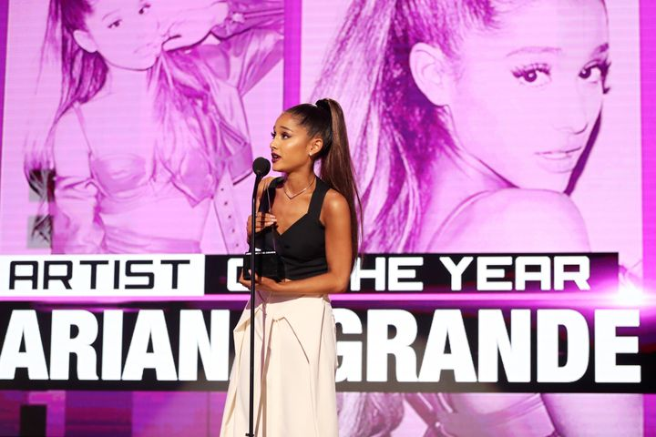 Ariana Grande sent her condolences after potential terrorist attacks struck London on June 3. In the photo above, she accepts the Artist of the Year award onstage the 2016 American Music Awards.