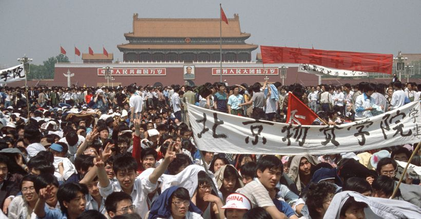 <em>Student activists in Tiananmen Square on 4 June 1989, before the government declared martial law </em>