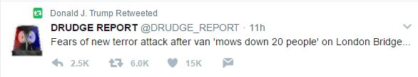 Trump retweeted a message from the Drudge Report shortly after the