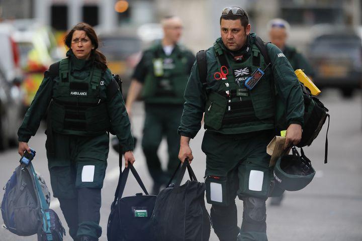 Medics leave the scene near the scene of last night's London Bridge terrorist attack